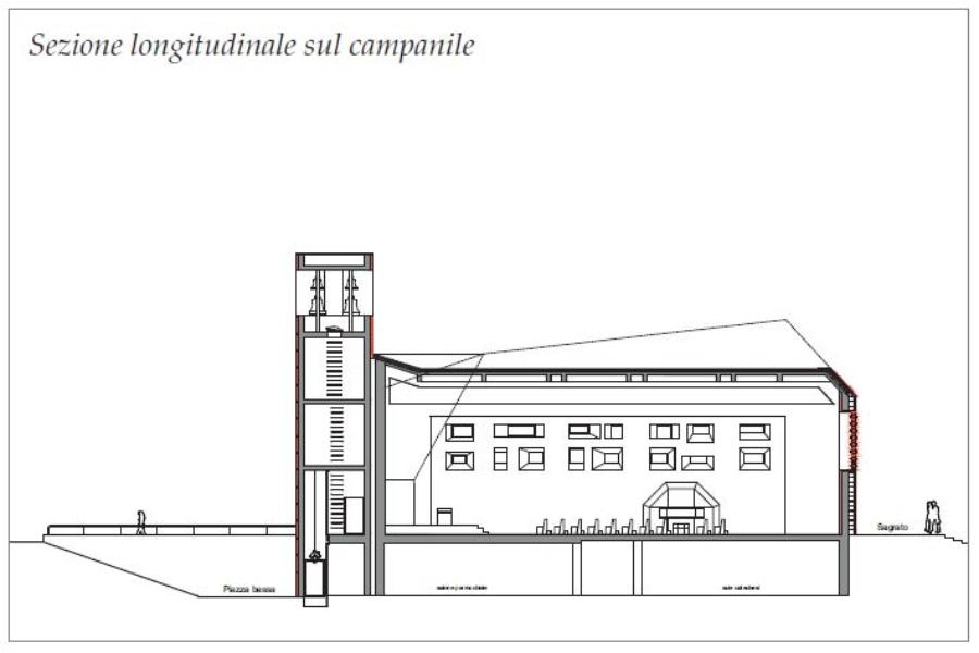 sezione longitudinale campanile Pila ai Piani