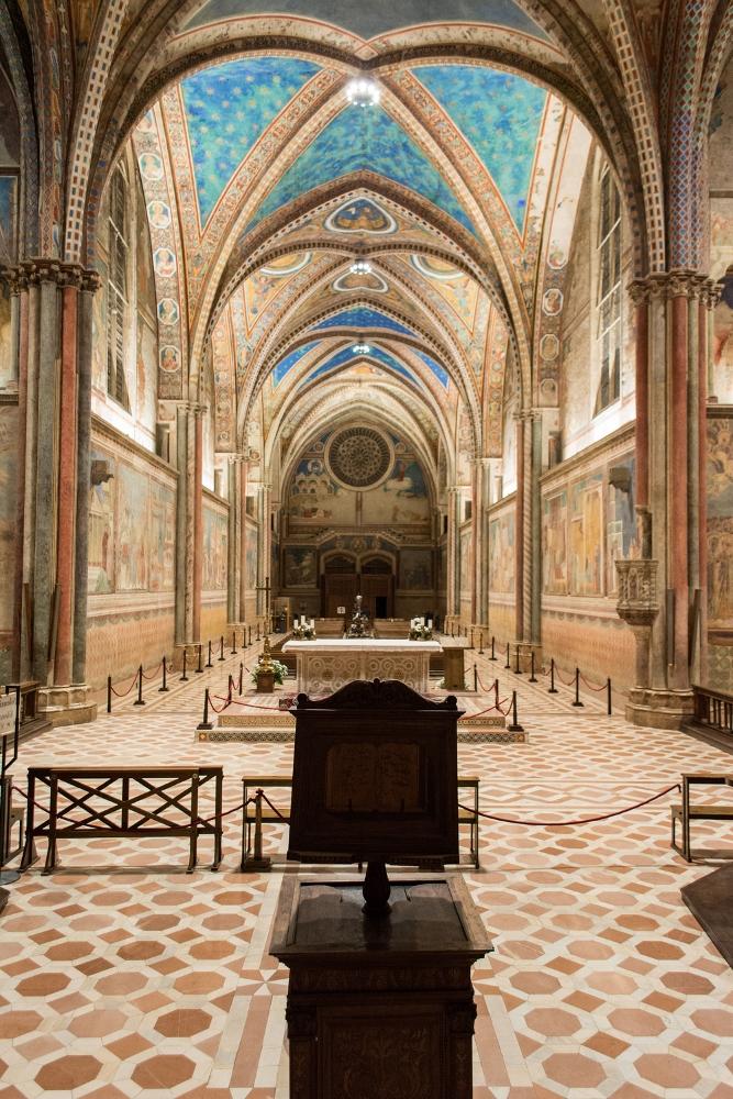 Illuminazione della Basilica Superiore San Francesco, Assisi, Perugia